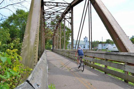 The Little Miami bike trail crossing the Little Miami River.
